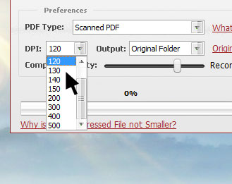 Choose the DPI and scanned PDF quality